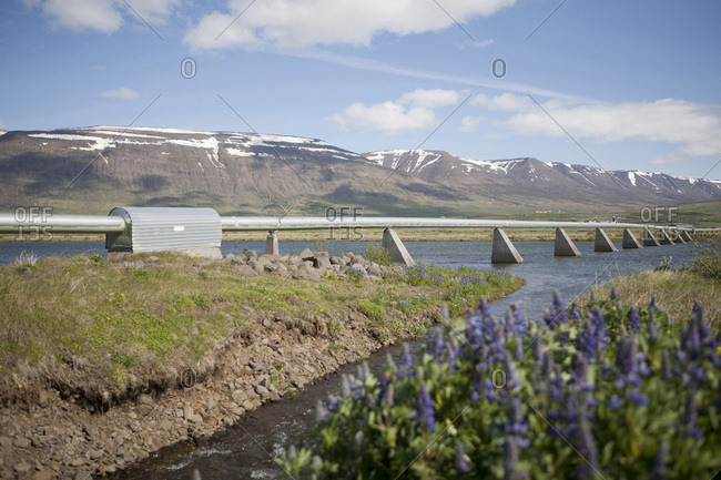 Pipeline over river, Iceland - Offset