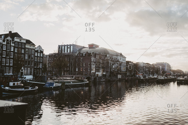 Amsterdam, Netherlands - November 17,2017: Amsterdam canal and royal theatre