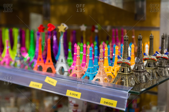 Small Eiffel Tower souvenirs in a gift shop