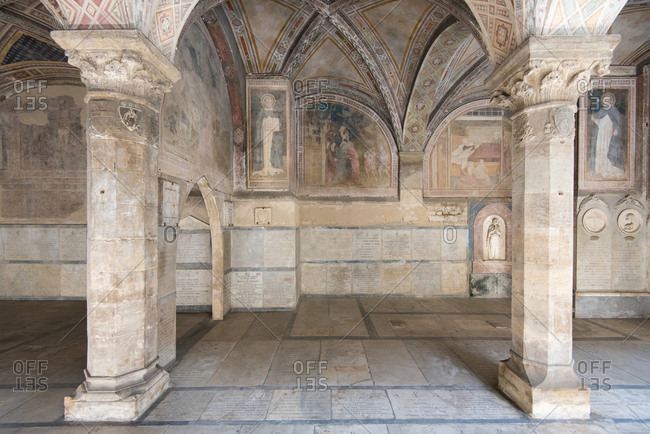 Firenze, Florence - September 7, 2017: Cloister of the dead, in the complex of Santa Maria Novella. Also known as Lower Cemetery