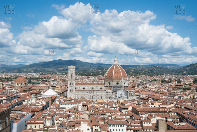 Florence city center as you can see it from Old Palace tower. At the center of the image, Florence cathedral or Santa Maria del Fiore cathedral, Florence, Tuscany, Italy