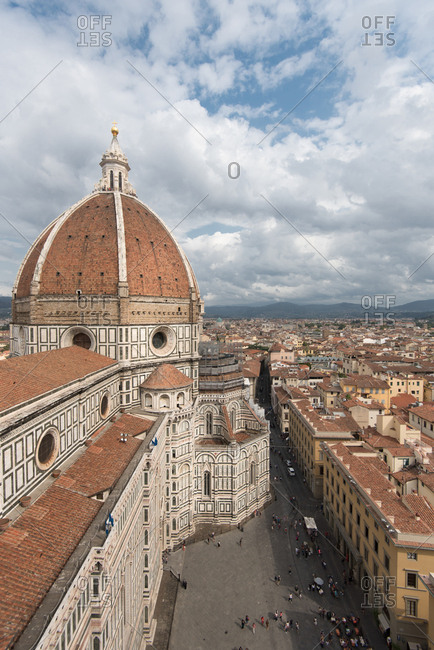 Florence cathedral dome, Santa Maria in Fiore, part of the Unesco World Heritage, seen with its famous Giotto bell tower, Florence, Tuscany, Italy