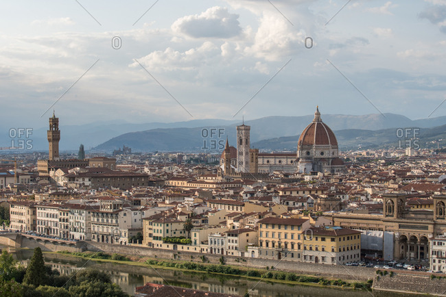 Firenze, Florence - September 8, 2017: Florence city center as you can see it from Piazzale Michelangelo. At the center of the image the Florence cathedral and on the left Palazzo Vecchio