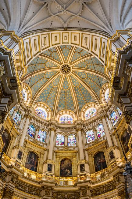 Granada, Spain - October 22, 2016: Interior of the dome of Granada cathedral