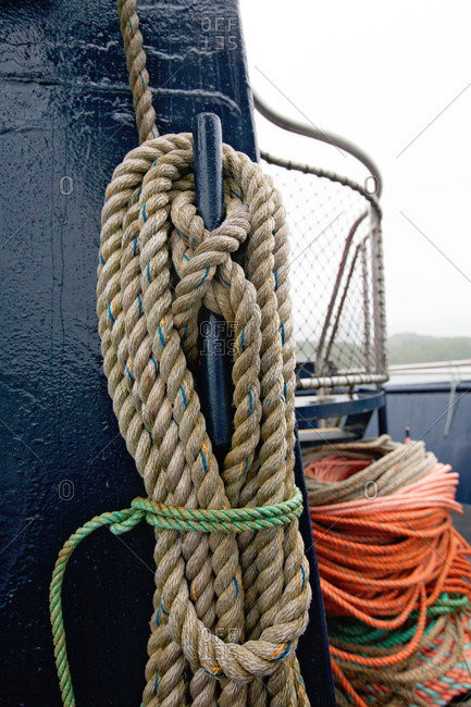 Wound up rope on fishing boat deck