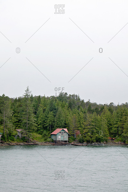 Rustic building on Alaskan shore