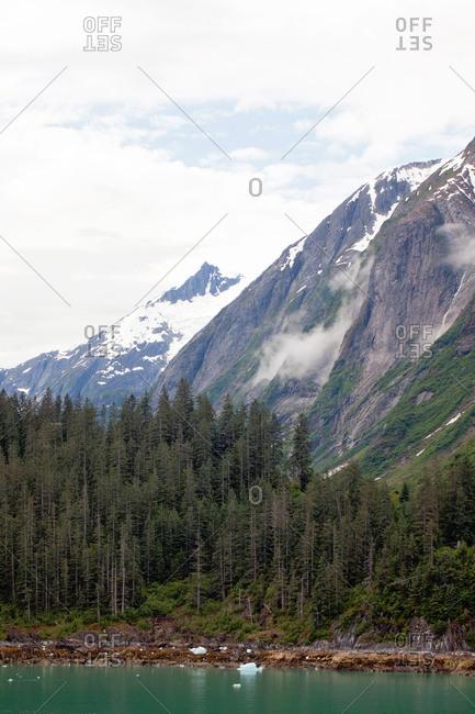 Foggy fjord mountainside