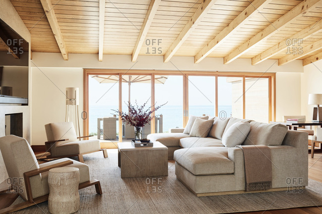 Malibu, California - January 9, 2015: Living room designed by Chad Eisner with view on ocean