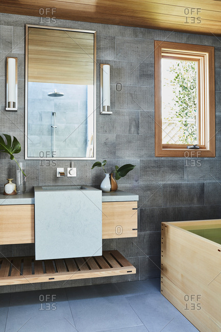 Malibu, California - January 9, 2015: Zen like bathroom with modern features designed by Chad Eisner