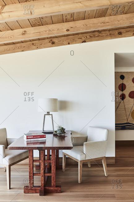 Malibu, California - January 9, 2015: Study workspace area in a beach house designed by Chad Eisner