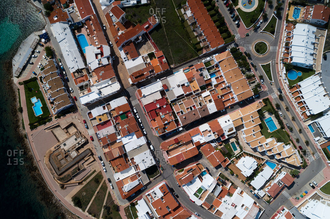 Aerial view of beautiful townscape on a sunny day