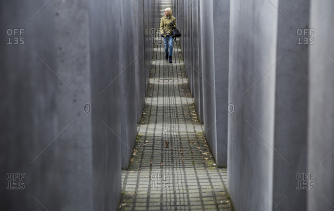 Berlin, Germany - March 16, 2017: Visitor to the Memorial to the Murdered Jews of Europe