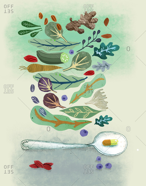Spoon with supplement and vegetables