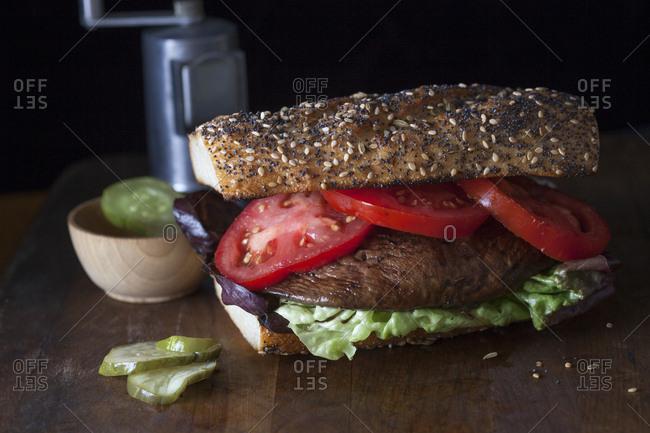 Portobello sandwich on seeded bun