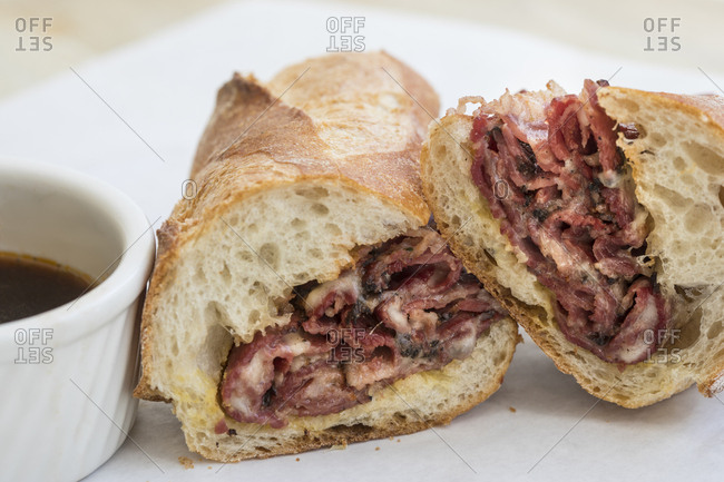 Pastrami sandwich on bun