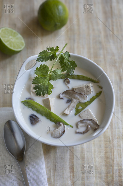 Asian style soup shot straight down