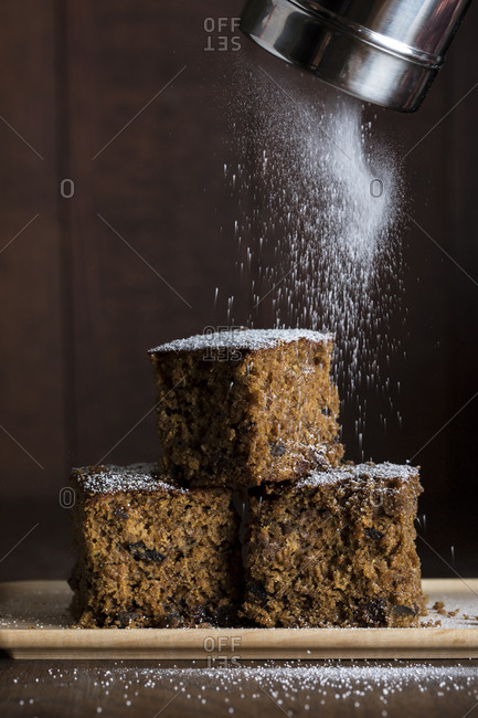 Gingerbread with powdered sugar sifted on top