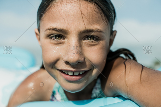 Portrait of a girl in the ocean in California