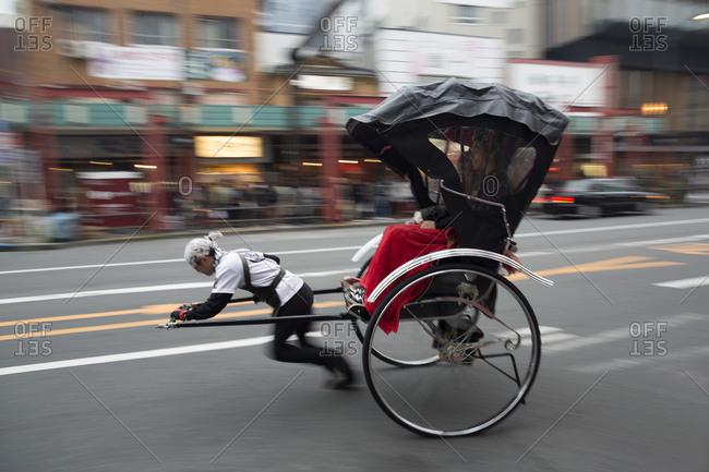 Tokyo, Japan - November 22, 2015: Asakusa shrine rickshaw