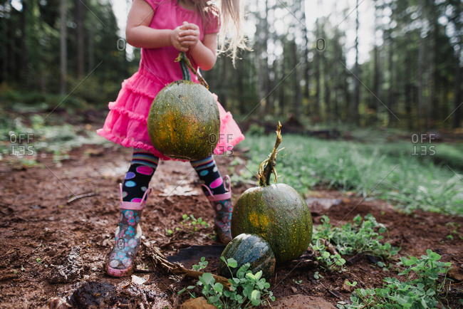 Strong little girl lifts big pumpkin in backyard