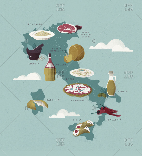 Map Of Italy With Traditional Italian Food Stock Photo Offset
