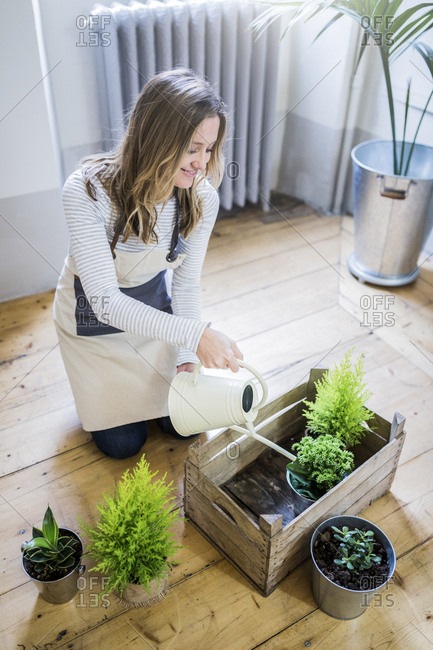 Smiling woman at home watering plants