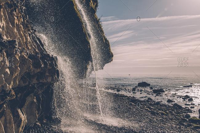 France- Seine-Maritime- Cote d'Albatre- chalk cliff- waterfall at beach