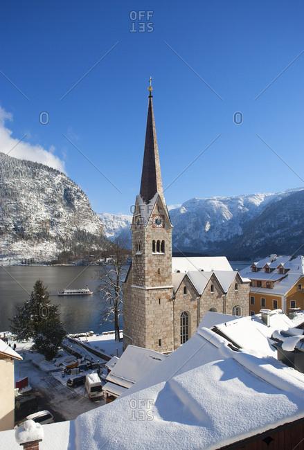 Austria- Upper Austria- Salzkammergut- Hallstatt- Lake Hallstatt- evangelic church
