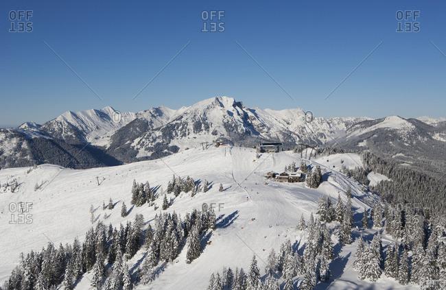 Austria- Upper Austria- Salzkammergut- Gosau- Ski area Dachstein-West- View to Dachstein and Gosaukamm