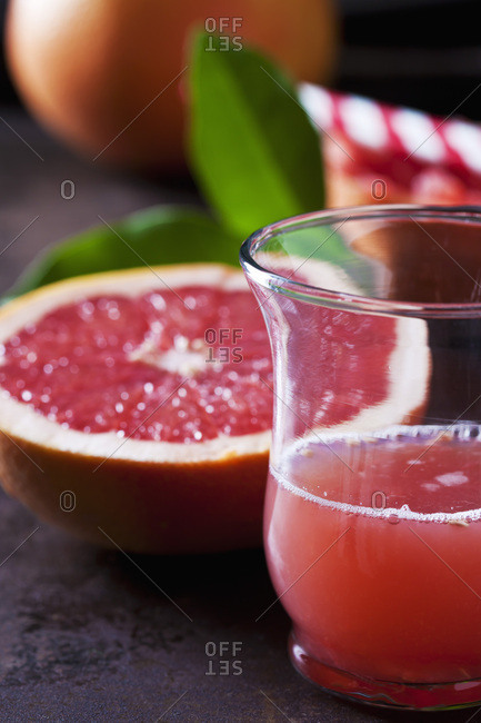 Glass of red grapefruit juice
