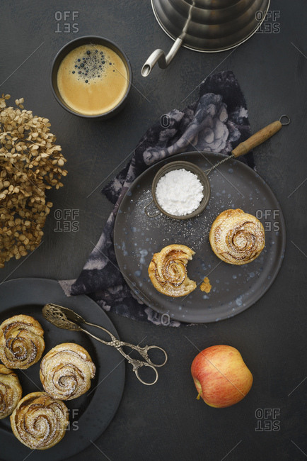 Home-baked apple tart with rose pattern
