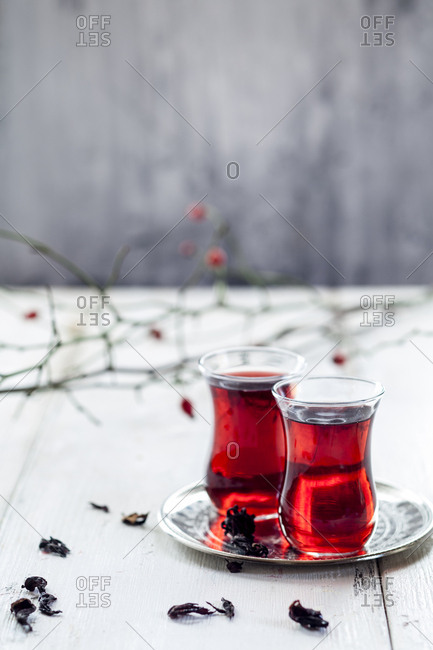 Hollyhock tea in tea glasses