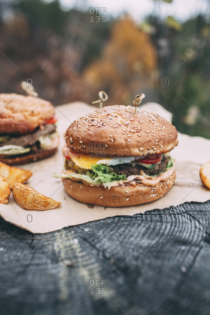 Fresh burger on stamp - Offset