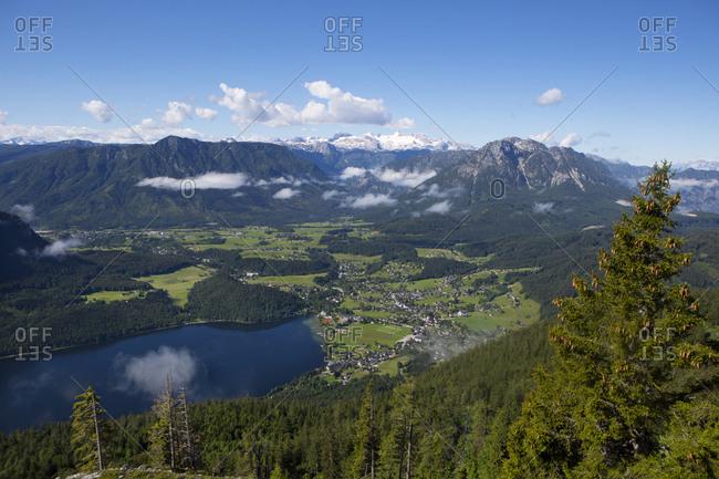 Austria- Styria- Salzkammergut- Ausseerland- Altaussee- Lake Altausseer See and Dachstein