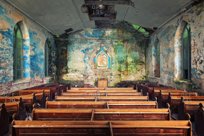 Colorful interior of abandoned chapel in Wales