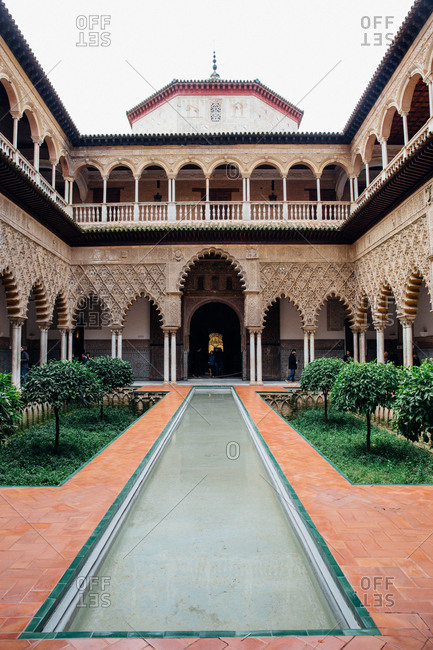 Seville, Spain - January 10, 2018: The Courtyard of the Maidens at the Real Alcazar