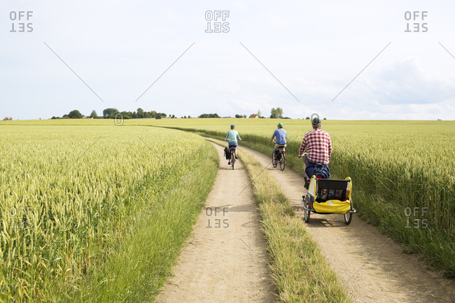 A family cycling