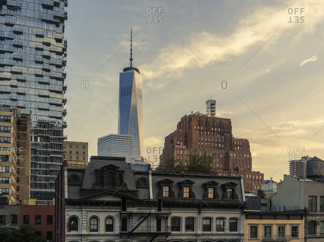 New York, New York - July 18, 2016: One World Trade Centre seen through residential buildings