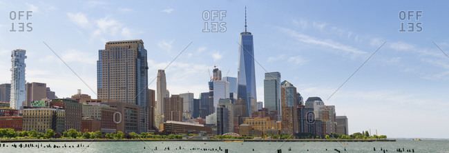 New York, New York - July 19, 2016: Panoramic skyline of New York City