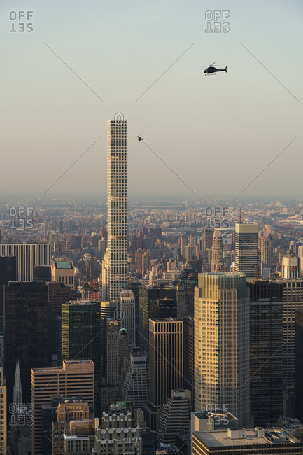 New York, New York - July 22, 2016: Cityscape of New York City with helicopter