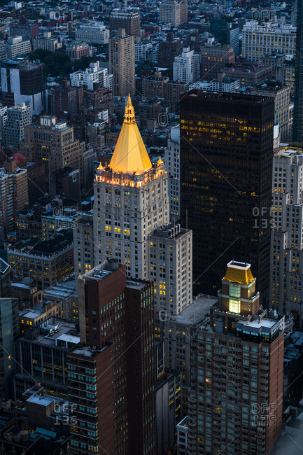 New York, New York - July 22, 2016: Arial view of the New York Life Building