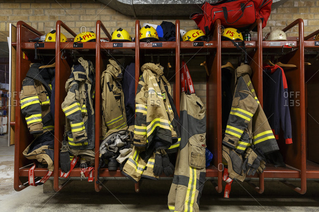 Sweden - January 4, 2017: Protective clothing in a fire station