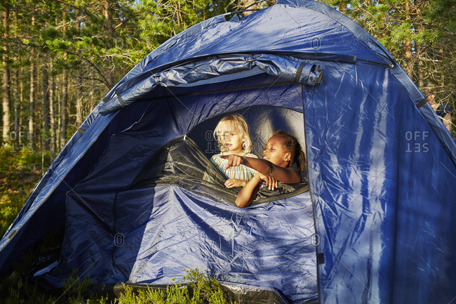 Girls in a blue tent