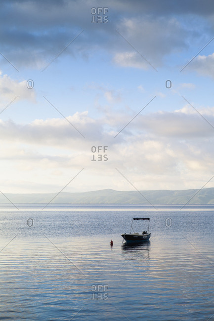 Bol, Brac, Croatia - June 14, 2016: A boat anchored at sea