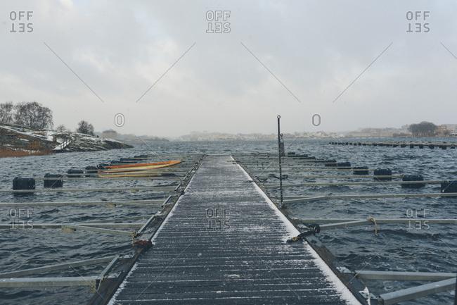 Snow on a pier in Blekinge, Sweden
