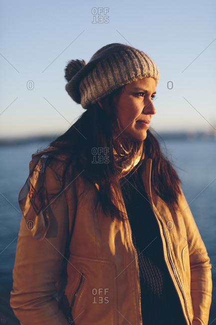 Woman wearing grey beanie