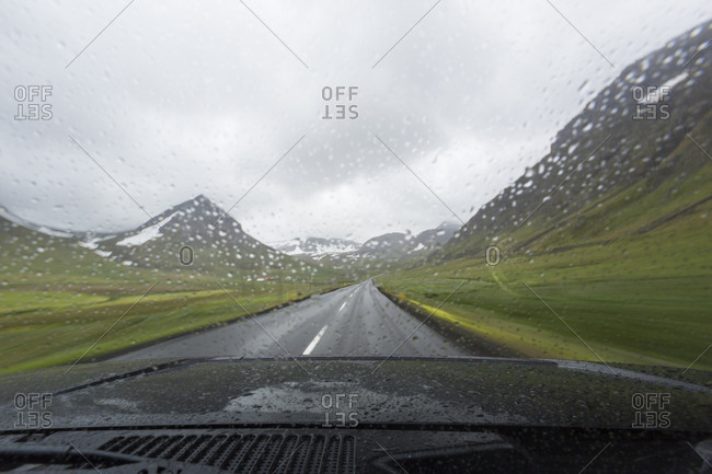 View from a car of a rural road