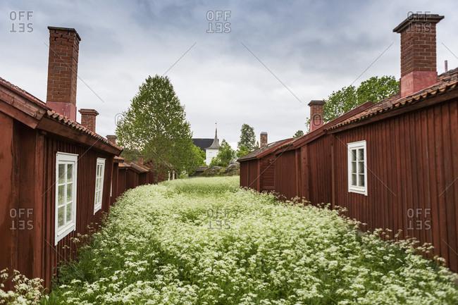 Wooden houses in Lovanger, Sweden
