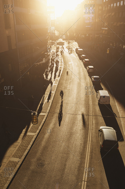 Kungsgatan, Stockholm, Sweden - March 23, 2017: Busy downtown street at sunset