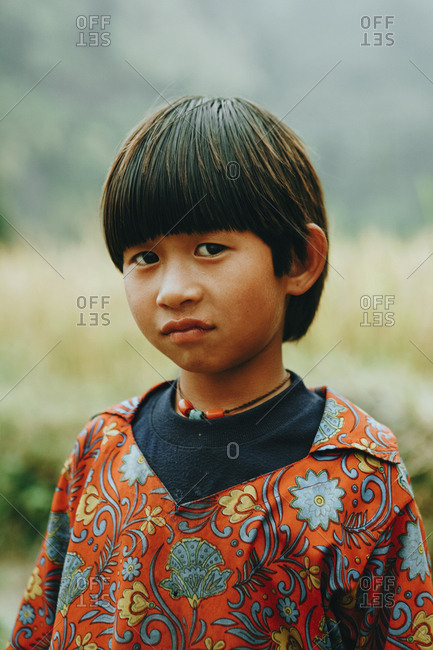Langtang, Nepal - November 4, 2011: Portrait of a Tamang child